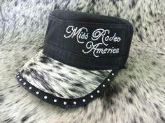 "Cowgirl Swank - Black Hair-On-Hide Military Cap - ""Miss Rodeo America 2012"""