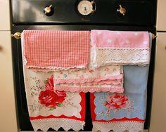 vintage lace trimmed tea towels