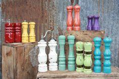 Reclaimed Shabby Chic Wooden Pepper Grinder and Salt Shaker Set - - Pepper Mill - Farmhouse Prarie Cottage Chic -Boho Kitchen
