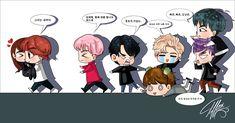 LOS BTS Una ilustración que le hice a mi hermana de sus coreanos :V