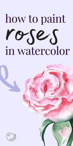Watercolor Beginner, Watercolor Paintings For Beginners, Step By Step Watercolor, Realistic Paintings, Beginner Painting, Watercolor Techniques, Painting Tips, Watercolor Brush Pen, Watercolor Rose