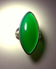 Green Onyx Sterling Silver Ring Cabochon Oval by RenaissanceFair