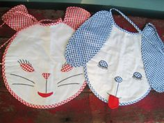 Vintage Handmade baby bibs Cat and Dog Gingham by ZomaleeVintage, $20.00