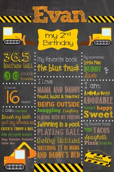 Construction Themed Birthday Chalkboard Sign / Printable /  Boys Birthday Chalkboard Poster ** Includes Free file for Facebook sharing!** by SuziQPrintShop on Etsy https://www.etsy.com/listing/202120683/construction-themed-birthday-chalkboard