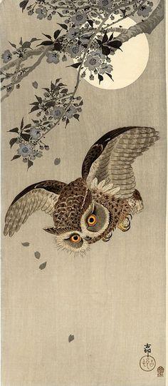"1926 ~ ""Owl in Flight"" by Ohara Koson (1877-1945), Japanese Painter & Printmaker ...."