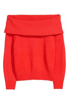 Off-the-shoulder sweater a soft knit with wool content. Wide foldover upper edge long sleeves and ribbing at cuffs and hem. Sweater Sale, Long Sleeve Sweater, Long Sleeve Tops, Red Jumper, Red Cardigan, Off The Shoulder Jumper, Shoulder Tops, London Fashion Bloggers, Pink Trousers
