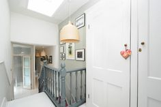 Rooflight on the upstairs landing and double glass doors to the bathroom Edwardian House, Victorian Terrace, Loft Stairs, House Stairs, Loft Conversion Stairs, Landing Decor, Hallway Inspiration, Hallway Ideas, Upstairs Landing