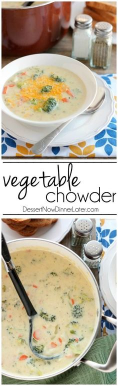 This Vegetable Chowder (also called Broccoli Cheese Potato Soup) is smooth, creamy, cheesy, and full of tender cooked vegetables. It's comfort food to keep you warm and full!
