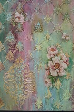Ideas For Mixed Media Art Fabric Paper Decoupage Vintage, Decoupage Art, Mixed Media Canvas, Mixed Media Art, Mix Media, Patterns Background, Faux Painting, Diy Painting, Fabric Paper