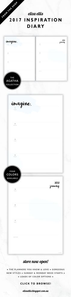 2017 Weekly Diary Planner // The Agatha Collection by Eliza Ellis. Pretty paint swatch design with hand drawn calligraphy font. Bonus matching planner covers and annual calendar included. Available in 4 colors – petal, leaf, cloud and blossom. Monday and Sunday week starts included. Documents print to A4 or A5.