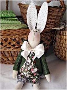 Bunny/ Tilda bunny/ OOAK Bunny/Green rabbit by HappyBunnyHandmade