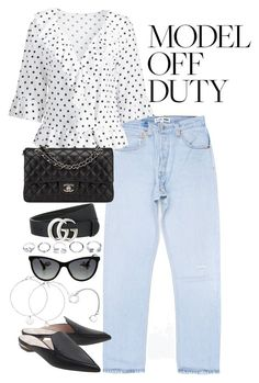 """""""Untitled #4639"""" by theeuropeancloset ❤ liked on Polyvore featuring Nicholas Kirkwood, Gucci, GUESS and Chanel"""