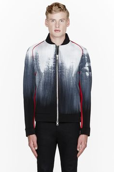 DENIS GAGNON //  White & Red PAinted Neoprene Jacket  32410M030002  Long sleeve structured neoprene jacket in black with painted detail in white. Shawl collar. Industrial zip closure at front. Architectural accents at shoulders in red. Slash pockets at front. Contrast panel at back in black. Fully lined. Tone on tone stitching. Body: 96% viscose, 4% spandex. Lining: 100% rayon. Hand wash. Made in Canada.  $750 CAD