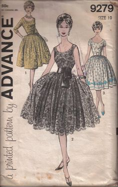 Vintage Advance Woman's Feminine Party Dress  by EvaStAlbans