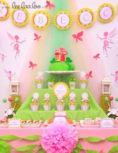 Pink and Green Fairy Party #fairy #party