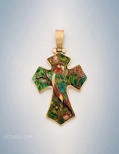 """""""Cross"""" Cloisonne Enamel"""