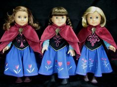 The girls wearing their cloaks in outfits like Anna's in the movie FROZEN. Sewn by Shirley Fomby of Doll Clothes By Shirley. Pattern by Luminaria. SOLD