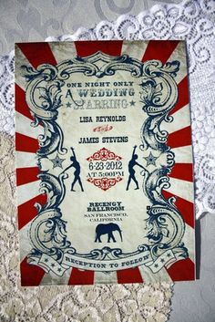 Vintage Carnival Wedding Invitation (Gorgeous Circus Invite Printable) Red, Blue and White. Definitely a fun idea Carnival Invitations, Carnival Themes, Circus Theme, Circus Party, Circus Font, Carnival Parties, Circus Birthday, Carnival Costumes, Birthday Parties
