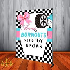 Bows or Burnouts Backdrop Personalized Step & Repeat - Designed, Print – Banners by Roz Gender Reveal Nails, Gender Reveal Party Games, Gender Reveal Themes, Pregnancy Gender Reveal, Gender Reveal Party Decorations, Gender Party, Gender Reveal Invitations, Baby Shower Gender Reveal, Reveal Parties