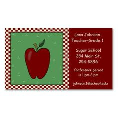 Teachers Apple Business Card. I love this design! It is available for customization or ready to buy as is. All you need is to add your business info to this template then place the order. It will ship within 24 hours. Just click the image to make your own!