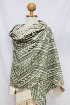 Green and White Cotton Throw Blanket / Shawl or Wall Hanging / Hand spun cotton / Natural dyes / Hand-woven/