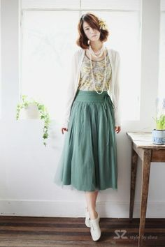 Style By Shez Pixie Skirt Calf Length Long Flowing Pleated Tulle 2 Colors So pretty! Modest Clothing, Modest Outfits, Skirt Outfits, Modest Fashion, Love Fashion, Cute Outfits, Vintage Fashion, Womens Fashion, Fashion Outfits