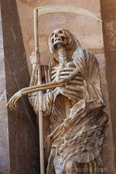Statue of a Grim Reaper in a cathedral, Cathedral Of Saint Peter, Trier, Germany (442-12110 / TPX19480 © Steve Vidler)