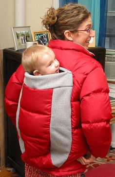 DIY babywearing coat. Must find a nice warm coat at Value Village and make this before the cold weather hits. Good instructions here: http://thepurebaby.blogspot.com/2010/09/homemade-babywearing-coat-for-pure-baby.html