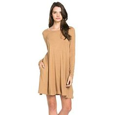 Solid Pocket Knit Long Sleeve Dress