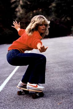 Ultimate 70s icon Farrah Fawcett skates in style, obviously.