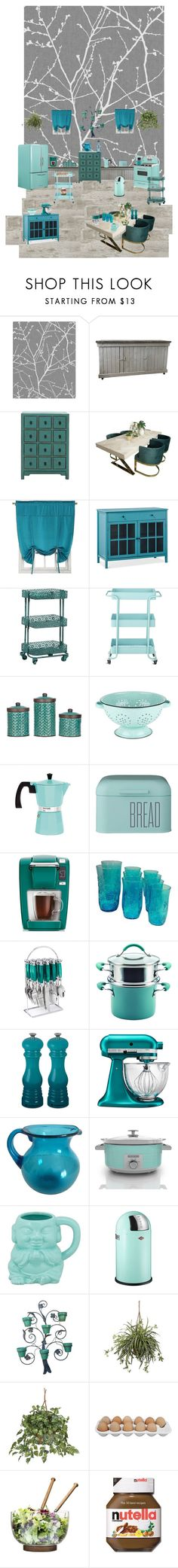 """Teal kitchen"" by lorinquerzombie ❤ liked on Polyvore featuring interior, interiors, interior design, home, home decor, interior decorating, Sun Zero, Threshold, Linon and Home Decorators Collection"
