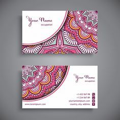 Corporate card decorated with pink mandalas Free Vector Design Brochure, Branding Design, Logo Design, Luxury Business Cards, Business Card Design, Corel Draw Design, Rosas Vector, Makeup Artist Logo, Visiting Card Design