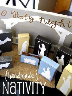 idea, christmas nativity, craft, nativity sets, wood blocks, wooden blocks, nativ set, block nativ, nativity scenes