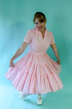 Vintage 1950's Pink & White Cotton Gingham Rockabilly Patio Dress by WildOatStudios on Etsy