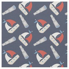 """Trendy Preppy Nautical Sailboat and Spyglass Patterned textile Fabric. Seamless vector design, prints beautifully. Great for sewing, photo backdrops, curtains and more! Customize the pattern size, color and tile by clicking """"customize it"""". See more products at <a href=""""http://www.printablepretty.com"""">PrintablePretty.com</a>"""