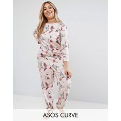 ASOS CURVE LOUNGE Inky Floral Jogger (€29) ❤ liked on Polyvore featuring activewear, activewear pants, multi, plus size, jogger sweatpants, tall sweatpants, plus size sportswear, womens plus size activewear and fitted sweatpants
