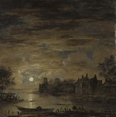 "laclefdescoeurs:  ""A Moonlit River Landscape with Farmhouses on the Banks of the River, a Wind Mill beyond, 1750, J.D. Beer  """