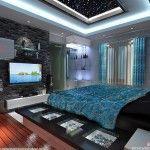 romantic bedroom decor with unique gypsum false ceiling lights decoration ideas