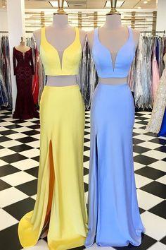Stunning Prom Dress,Two Piece Prom Dress,V-Neck Prom Dress,Mermaid Prom Dress
