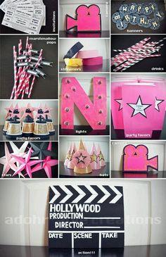 Adohrable Creations - Movie Star Party 32 Birthday, 13th Birthday Parties, Carnival Birthday, Slumber Parties, Birthday Party Themes, Movie Star Party, Rock Star Party, Filmstar Party, Hollywood Party