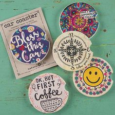 Car Coasters - Absorbent stoneware car coasters soak up leaks and spills while adding color and fun to your ride. New super cute styles make great gifts for owl lovers, travel lovers and gals on the go!