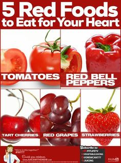5 Red Foods To Eat For Heart Health. #hearthealth #heart