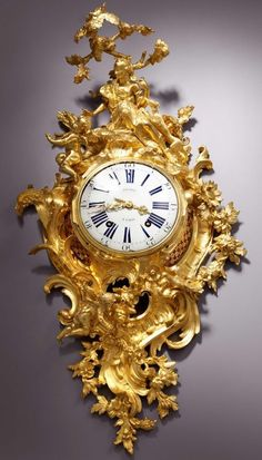 A large Louis XV gilt bronze figural cartel clock by Jouard, 1745, France. A large and highly important Louis XV gilt bronze figural cartel clock of two weeks duration, the movement by Louis Jouard and magnificent case by the eminent bronzier Jean-Joseph de Saint-Germain, signed on the white enamel dial and also on the movement Jouard à Paris and inscribed on the lower right of the case S. GERMAIN. Paris, date circa 1745. / haughton.com