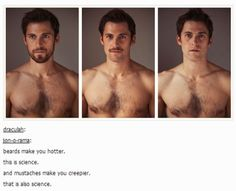 Science, moustache, beard, hotter