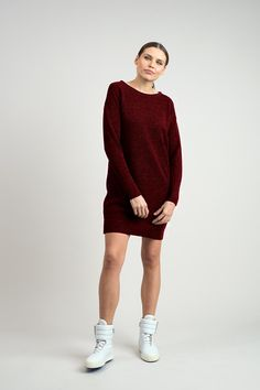 100% alpaca wool dress / tunica Alpaca Wool, Wool Dress, Burgundy, Normcore, Red, Dresses, Women, Style, Products