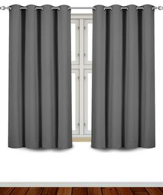 Blackout Room Darkening Curtains Window Panel Drapes - (Grey Color) 2 Panel Set - 52 inch wide by 63 inch long each panel - 8 Grommets / Rings per panel- 2 Tie Back included- By Utopia Bedding