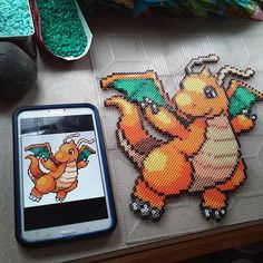 Dragonite Pokemon perler beads by paccard21
