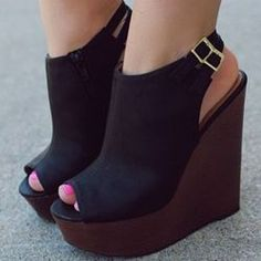 Buy fashion wedges shoes from shoespie. It offers you some cheap wedge shoes of different styles:printed wedge heels, strappy wedges boots, summer wedge sandals are standing for good quality. Hot Shoes, Crazy Shoes, Me Too Shoes, Black High Heels, Black Wedges, Cute Wedges, Black Wedge Sandals, Brown Heels, Brown Wedges