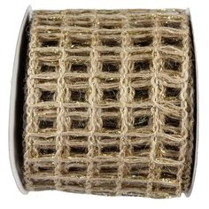 """Jute Metallic Ribbon Color: Natural wtih 18K Gold Size: 4"""" in width; 10 yards length Material: Jute Wired"""
