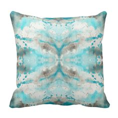 Purchase Pink Paint Artistic Teal White Gray Watercolor Pattern Modern Pillowcase Cover inch from Wallis Flora on OpenSky. Modern Decorative Pillows, Decorative Pillow Cases, Thing 1, Watercolor Pattern, Custom Pillows, Dot And Bo, Throw Pillow Covers, Grey And White, Teal